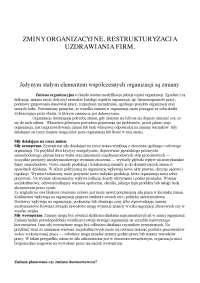 Zmiany organizacyjne, restrukturyzacja uzdrawiania firm - Notatki - Zarządzanie