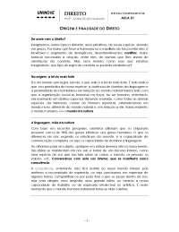Origem e Finalidade do Direito - Apostilas - Comércio Exterior