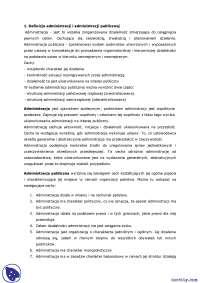 Definicja administracji i administracji publicznej - Notatki - Prawo administracyjne