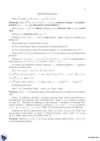 PRSTEN POLINOMA-Beleska-Linearna algebra i polinomi-Matematika