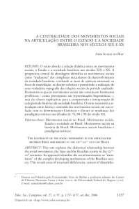 Movimentos Sociais séculos XIX e XX Brasil - Apostilas - Ciências Sociais