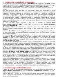 Riassunti Esame Antropologia prof Benaudusi - Rif: Storia dell'antropologia, Fabietti