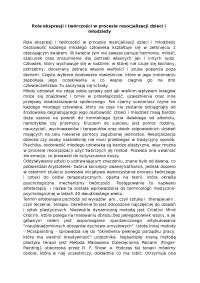 Rola ekspresji i twórczości w procesie resocjalizacji dzieci i młodzieży - Notatki - Resocjalizacja