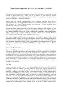 Normas constitucionais atinentes aos servidores públicos - Apostilas - Direito Administrativo