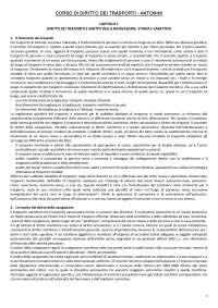 DIRITTO DEI TRASPORTI - RIASSUNTO