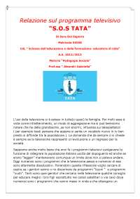 relazione  programma televisivo SOS TATA