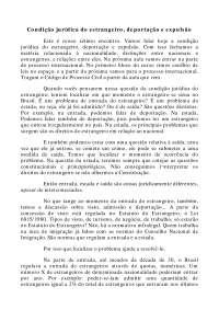 Condição jurídica do estrangeiro - Apostilas - Direito Internacional Privado