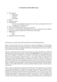 A Vontade Geral de Rousseau - Apostilas - Filosofia do Direito