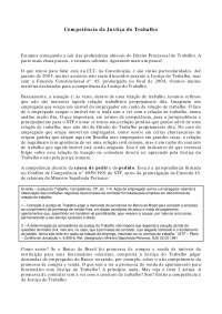 Competência da Justiça do Trabalho - Apostilas - Direito Processual do Trabalho