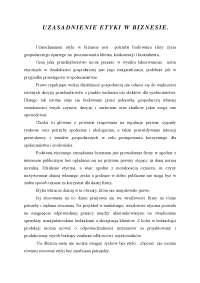 Uzasadnienie etyki w biznesie - Notatki - Etyka