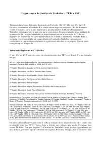 Organização da Justiça do Trabalho - Apostilas - Direito Processual do Trabalho