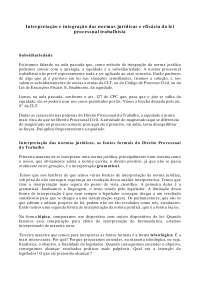Interpretação e Integração das normas jurídicas - Apostilas - Direito Processual do Trabalho