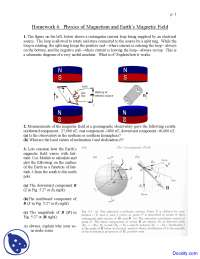 Physics of Magnetism - Seismology - Home Work