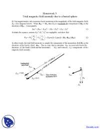 Total Magnetic Field - Seismology - Home Work