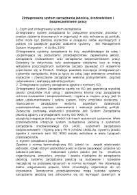 Zintegrowany system zarządzania jakością - Notatki - Zarządzanie jakością