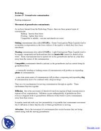 Groundwater Contamination - Water Management - Lecture Notes