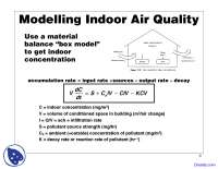 Modelling Indoor Air Quality - Water Management - Lecture Slide