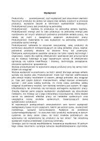 Wydajność - Notatki - Zarządzanie produkcją