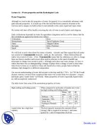 Water Properties - Water Management - Lecture Notes
