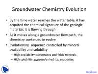 Groundwater - Geochemistry I - Lecture Slides