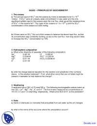 Oceans - Geochemistry I - Exam