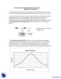 Magnetics Problem Set - Environmental Geology - Assignment