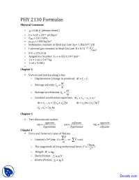 Physical Constants - General Physcis I - Solved Exam