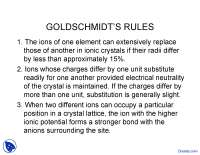Goldschmidts Rules - Geochemistry - Lecture Slides