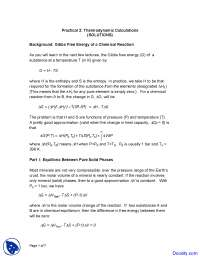 Thermodynamic Calculations - Geochemistry - Home Work