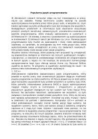 Popularne języki programowania - Notatki - Programowanie