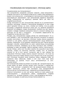 Charakterystyka sieci komputerowych  - Notatki - Systemy i sieci