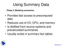 Using Summary Data - Buisness Management - Lecture Slides