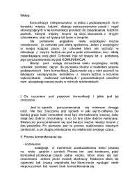 Komunikacja interpersonalna - Notatki - Psychologia - Część 1