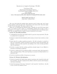 Encoding Specificity - Introduction to Cognitive Psychology - Handout