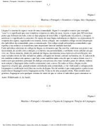 Língua, Fala e Linguagem - Apostilas - Português
