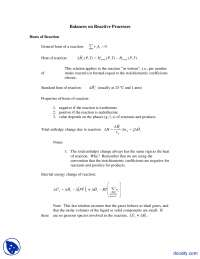 Balances on Reactive Processes - Chemical Process Principles and Calculations - Lecture Notes