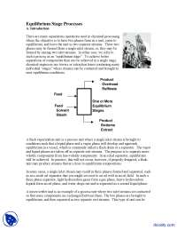 Equilibrium Stage Processes - Introduction to Chemical Engineering - Lecture Notes