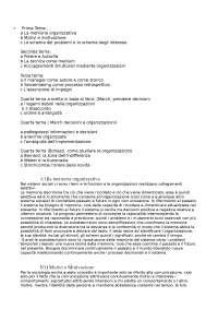 Sociologia Organizzazioni alcune domande/risposte