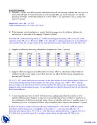 Cost of Production - Intermediate Microeconomics - Solved Assignment