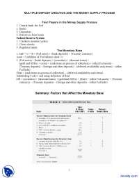 Money Supply Process - Money Banking and Financial Markets - Handout