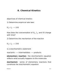 Chemical Kinetics - Physical Chemistry I - Handout