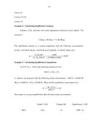 Equilibrium Constants - General Chemistry - Lecture Notes