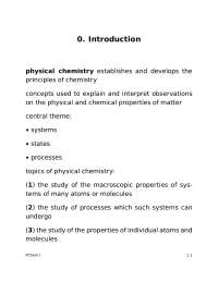 Introduction - Physical Chemistry I - Handout