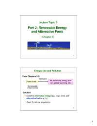 Renewable Energy - Environmental Chemistry - Lecture Slides