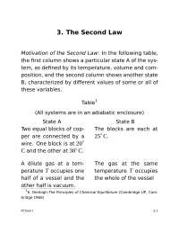 Second Law of Thermodynamics - Physical Chemistry I - Handout