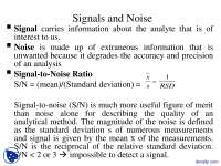 Signals and Noise - Instrumental Analysis - Lecture Slides