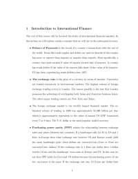 International Finance - Survey of International Economics - Handout