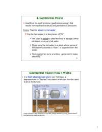 Geothermal Power - Environmental Chemistry - Lecture Slides