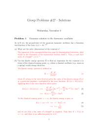 Harmonic Oscillator - Introduction to Relativity and Quantum Mechanics - Problem Sets