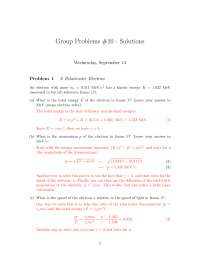 Relativistic Electron - Introduction to Relativity and Quantum Mechanics - Problem Sets